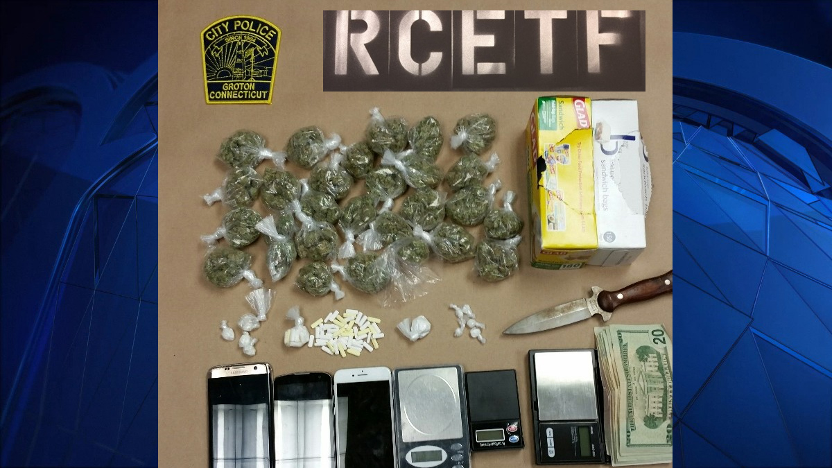 Groton City police seized marijuana, crack cocaine, powder cocaine, prescription pills, cash, cell phones and drug packaging materials from a residence on Brandagee Avenue Tuesday.