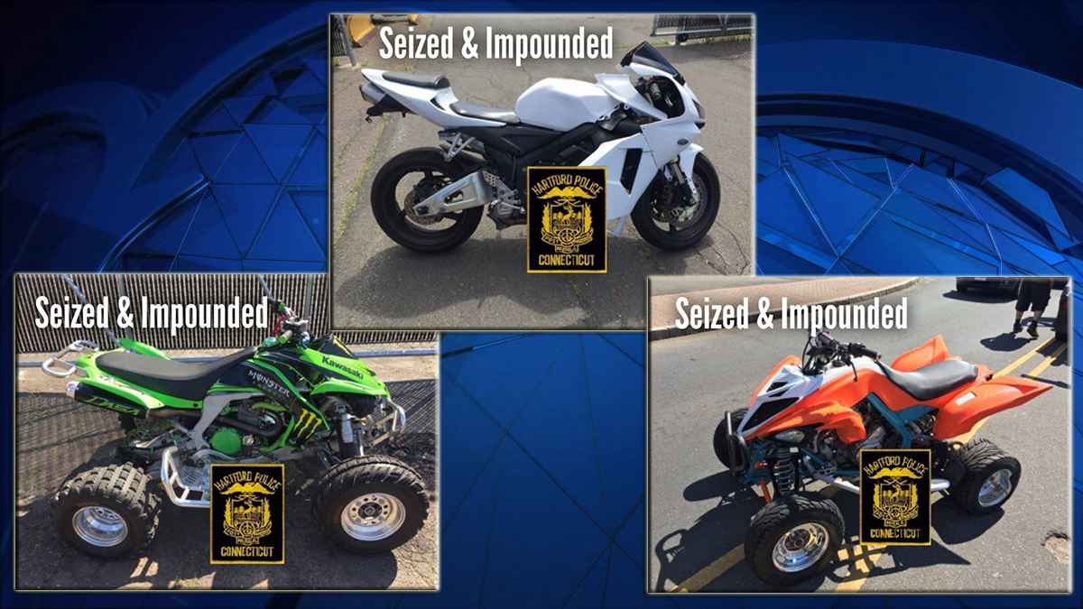 Hartford police arrested four people and seized multiple dirt bikes and off-road vehicles Sunday after learning of a gathering through a Facebook post.
