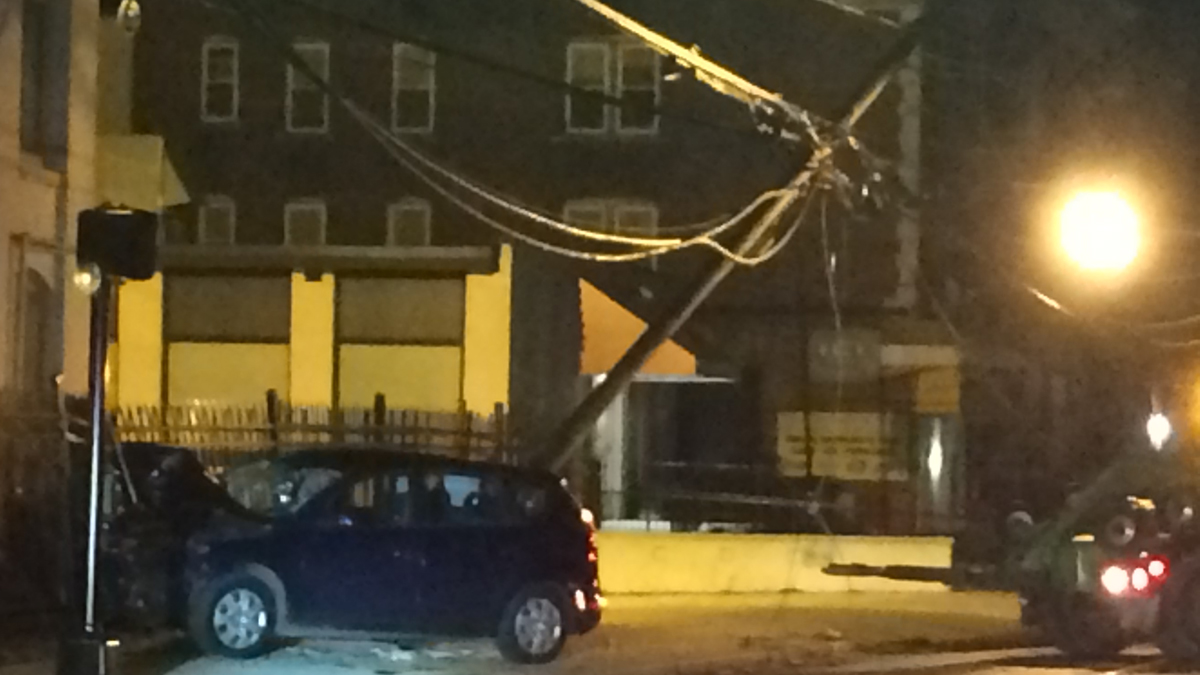 A car crashed into a fence and took down utility poles near Hamilton Street and Bartholomew Avenue in Hartford early Sunday morning.