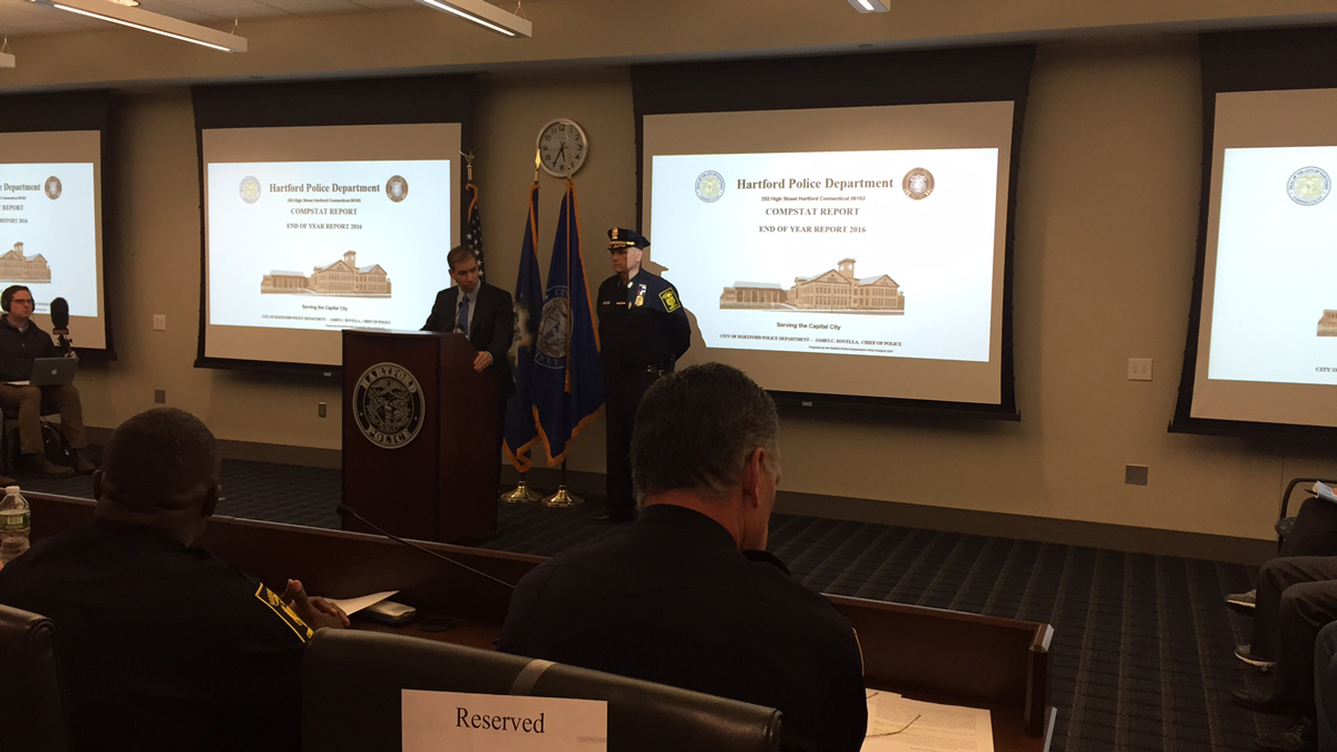 Hartford officials released the 2016 crime statistics at the first compstat meeting of the year Thursday.