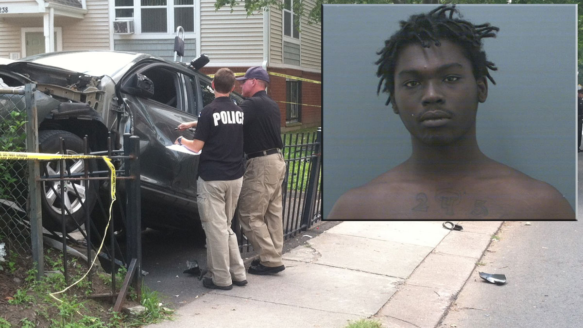 A woman suffered fatal injuries and a man was also hurt when SUV came barreling onto the sidewalk on Ashley Street in Hartford on July 18. Eighteen-year-old Deykevious Russaw (inset) faces charges in the case.