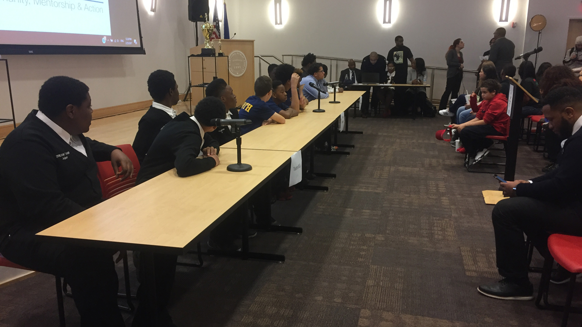 Multiple schools competed at the African American History Bee at the Hartford Public Library Saturday.