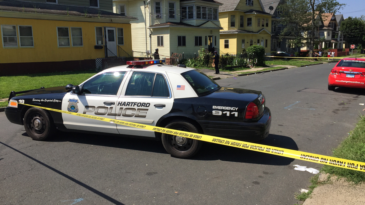 Hartford police investigating after a man was possibly grazed in the head by a bullet then crashed his car on Norfolk Street Wednesday.