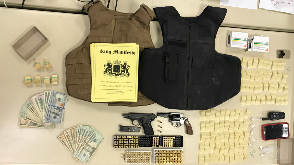 Hartford police seized a .380 caliber semi-automatic pistol, a .38 special revolver with 193 rounds of ammo, two ballistic vets, 410 bags of fentanyl-based heroin, 18.5 grams of crack cocaine, 3.3 grams powdered heroin, $1849 in cash and drug packaging equipment during a narcotics operation Monday.