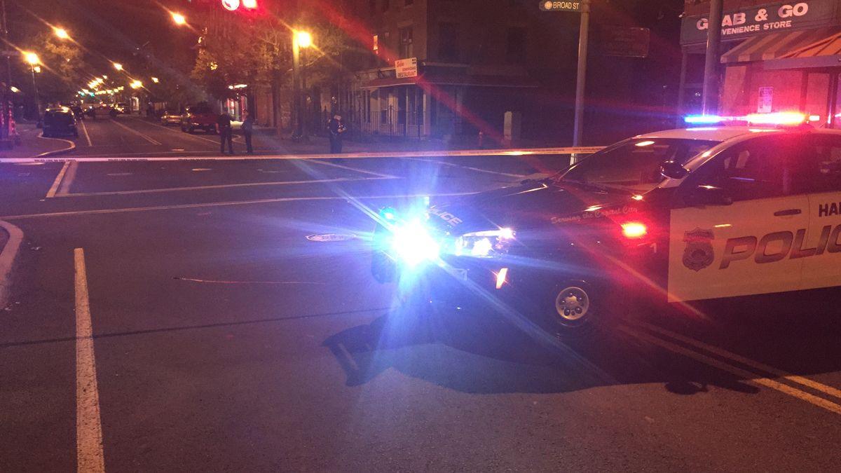 Police responded to the intersection of Park and Broad streets in Hartford Wednesday morning to investigate a shooting.