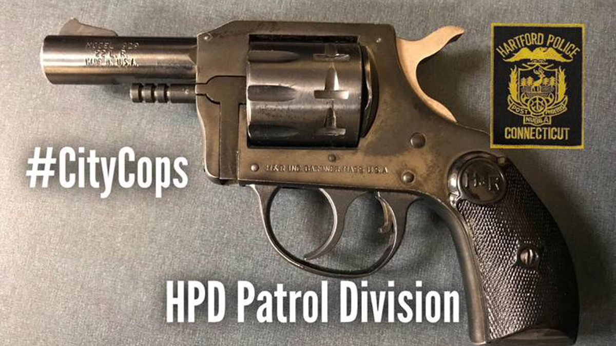 Hartford police seized this gun while arresting a suspect accused of threatening to kill another person.
