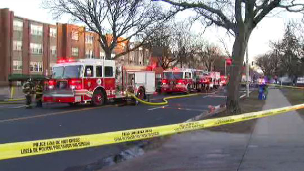Fire broke out at an apartment building on Washington Street in Hartford Saturday.