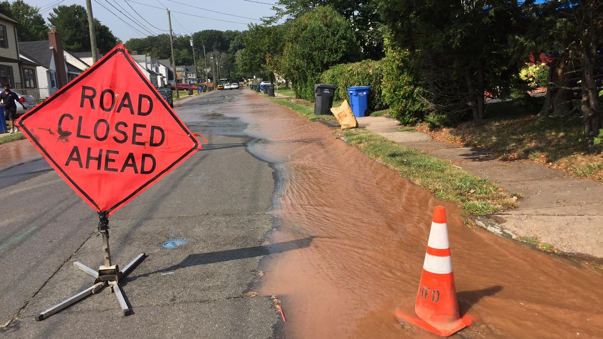 A water main break has closed part of Cromwell Street near George Street in Hartford.