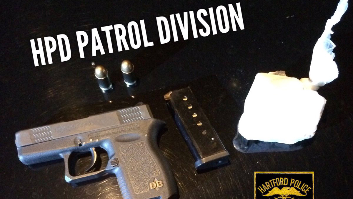 Police said they seized a .380 Diamond Back handgun with live rounds in the magazine, 3.1 ounces of crack cocaine and two live .45 caliber rounds after being tipped off by a Shot Spotter activation on Sanford Street Sunday.