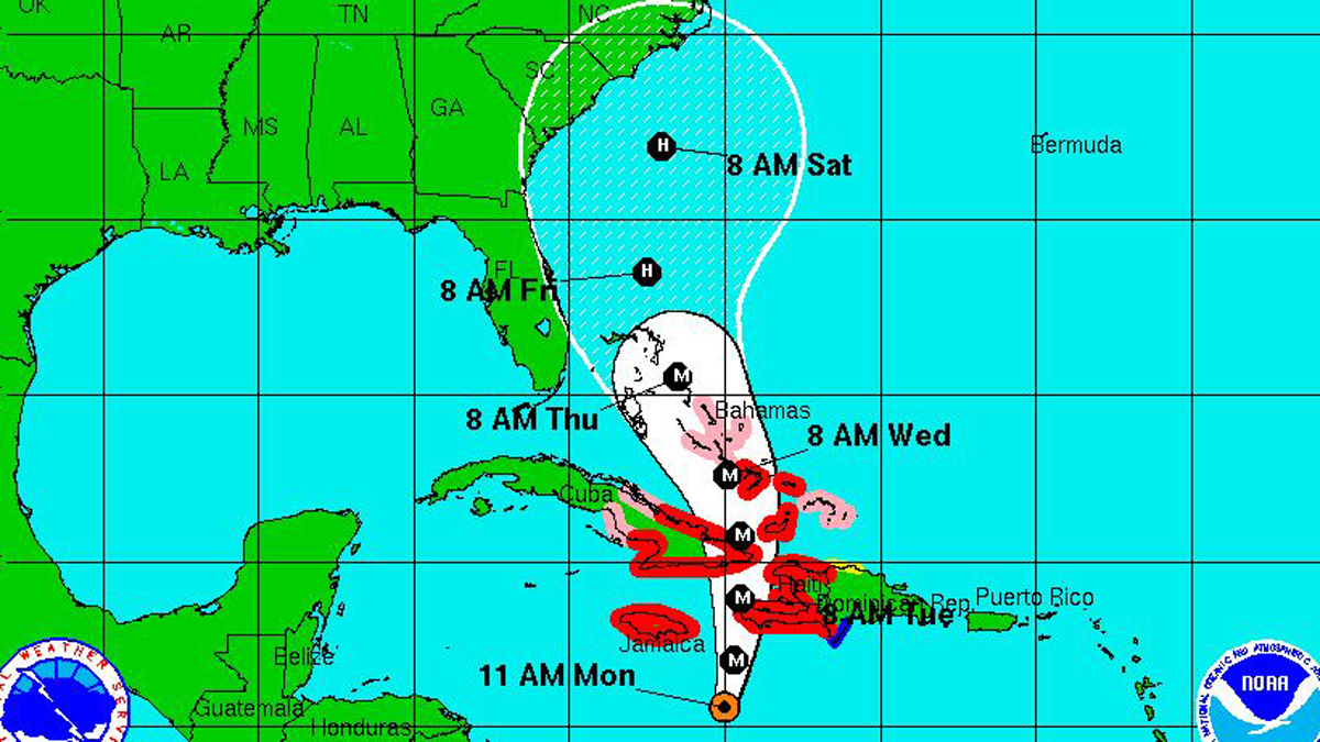 Hurricane Matthew's position and potential track as of 11 a.m. Monday