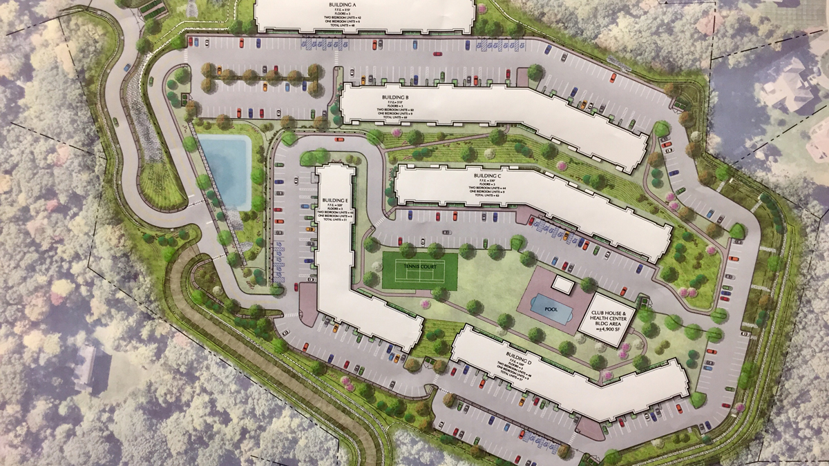 The proposed 288-unit luxury housing complex just off the top of Rocky Top Road in Hamden.