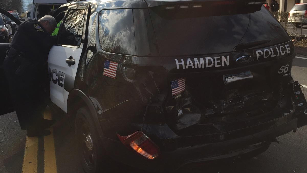 Hamden police say one of their officers was rear-ended by a distracted driver on Whitney Avenue Saturday.