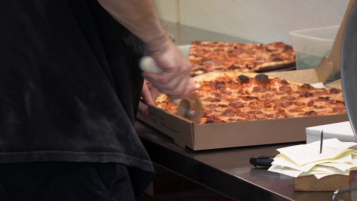 Harry's Pizzeria & Tavern in West Hartford served free slices of cheese and pepperoni from noon to 3 p.m. on Thursday after the Red Sox clinched another win in Game 4 against the Houston Astros.