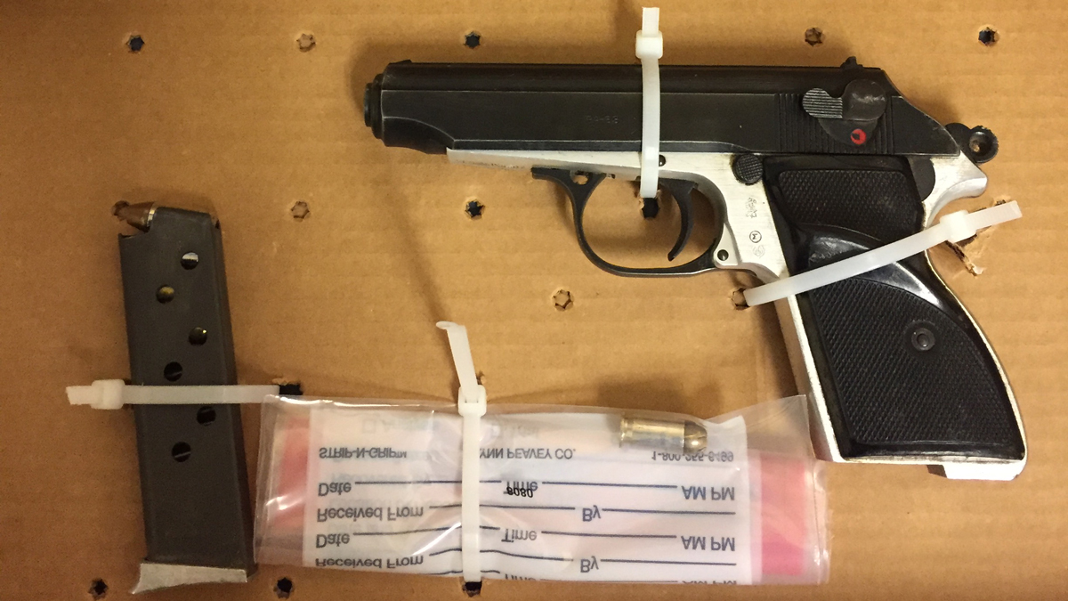 Police say a 9mm TGI pistol was recovered in a backyard off Franklin Avenue Saturday.