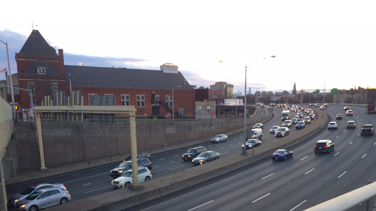 Traffic on I-84 in Hartford Sunday afternoon.