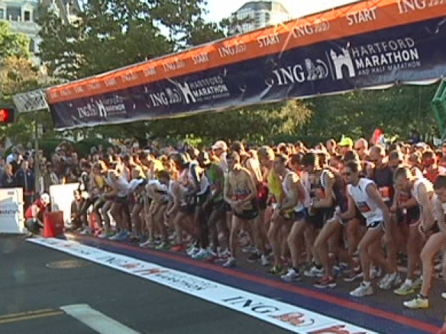 Runners line up and get ready to begin at a previous Hartford Marathon.