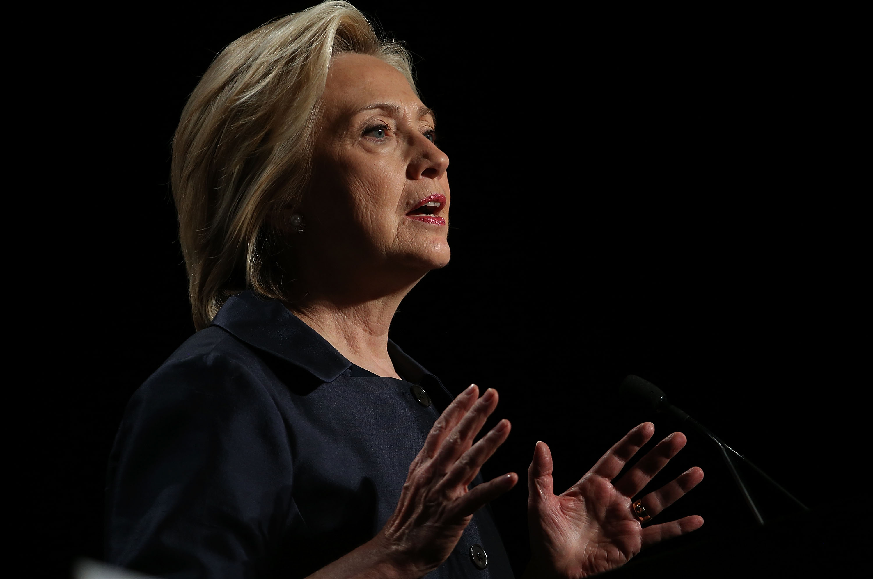 SAN FRANCISCO, CA - JUNE 20: Democratic presidential candidate and former U.S. Secretary of State Hillary Clinton speaks during the 2015 United States Conference of Mayors on June 20, 2015 in San Francisco, California. The 83rd Annual Meeting of the U.S. Conference of Mayors runs through June 22. (Photo by Justin Sullivan/Getty Images)