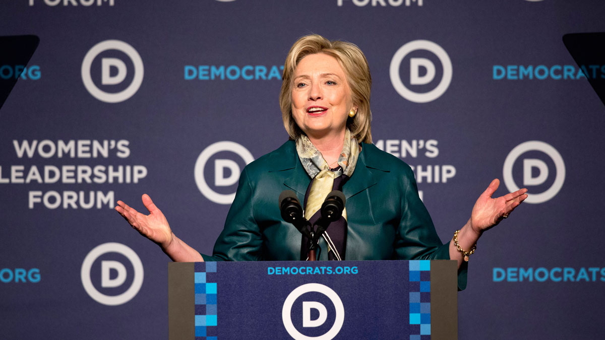 Hillary Rodham Clinton speaks to the Democratic National Committee 22nd Annual Women's Leadership Forum National Issues Conference in Washington, Oct. 23, 2015.