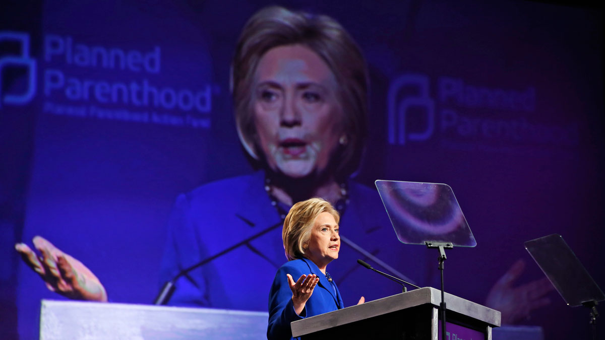 Democratic presidential candidate Hillary Clinton speaks during a Planned Parenthood Action Fund membership event, on June 10, 2016 in Washington.