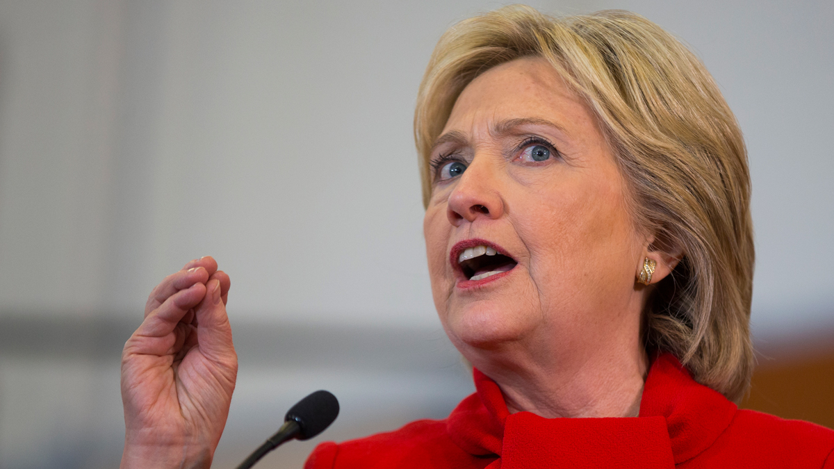 Democratic presidential candidate Hillary Clinton speaks during a campaign rally at Burford Garner Elementary School, on Sunday, Jan. 24, 2016, in North Liberty, Iowa.