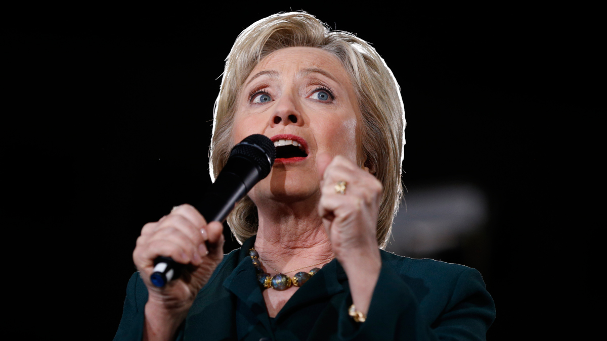 Democratic presidential candidate Hillary Clinton speaks during a rally Friday, Feb. 19, 2016, in Las Vegas.