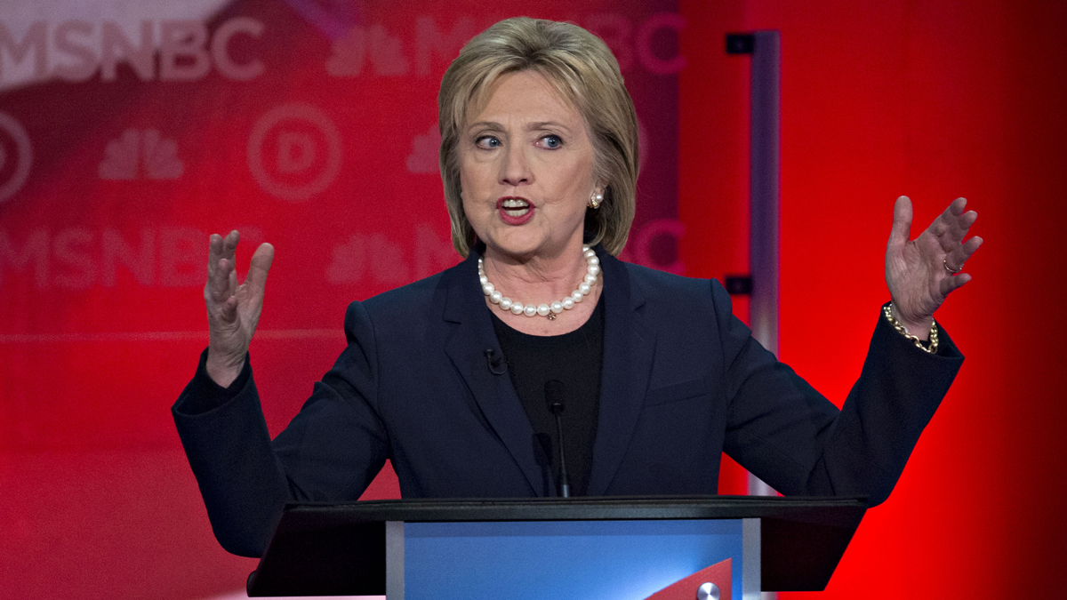 Hillary Clinton, former Secretary of State and 2016 Democratic presidential candidate, speaks during the Democratic presidential candidate debate at the University of New Hampshire in Durham, New Hampshire, on Thursday, Feb. 4, 2016.