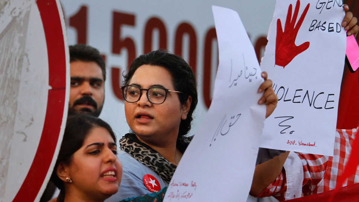 An Activist of the Awami Workers Party chants slogans during a demonstration in Islamabad, Pakistan, on July 18, 2016. Nearly 1,000 women are murdered in Pakistan each year for violating conservative norms on love, marriage and public behavior. The so-called