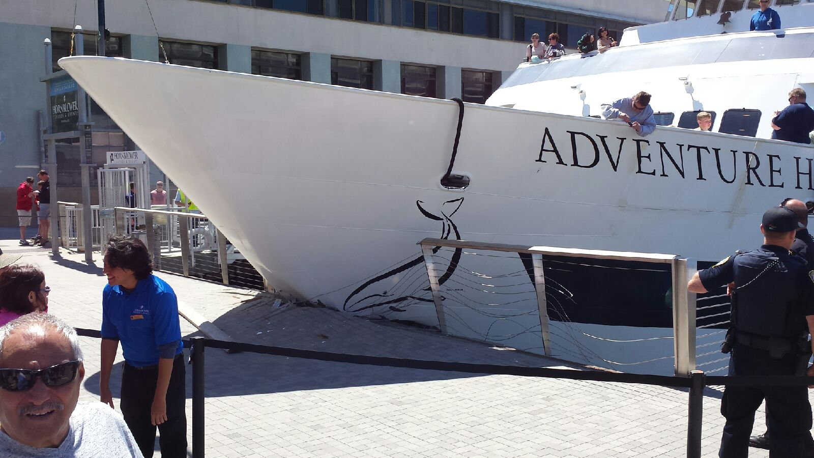 Three people were taken to the hospital after a Hornblower cruise ship smashed into Broadway Pier along San Diego's scenic Embarcadero area.