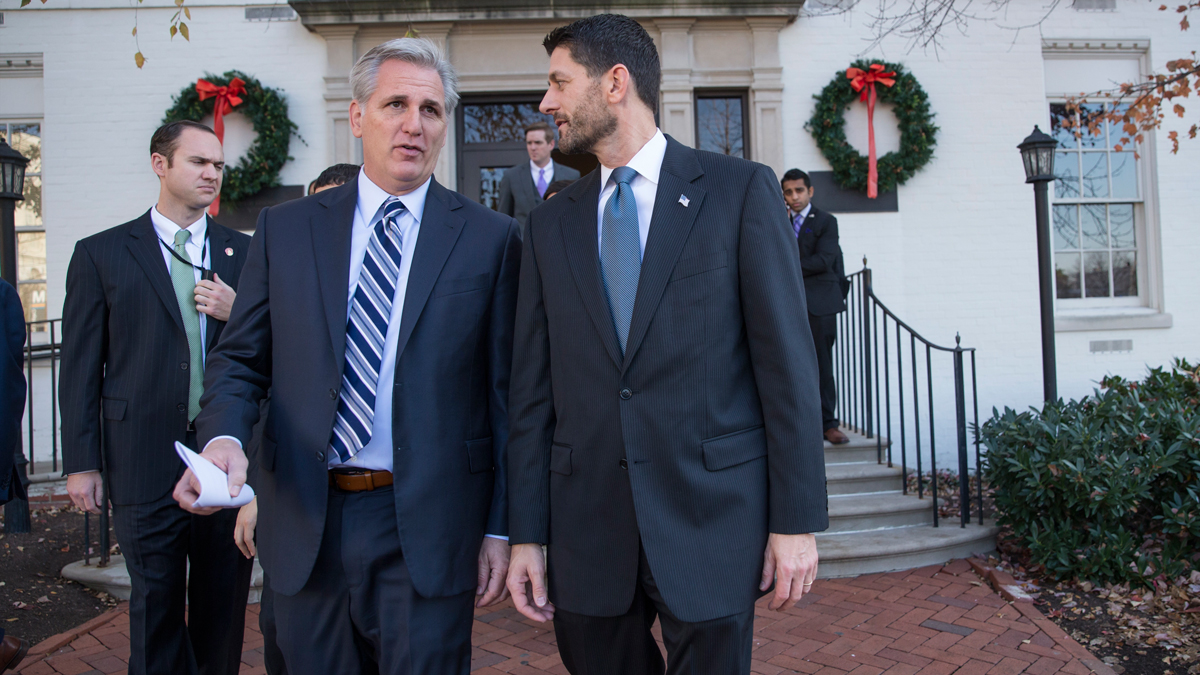 House Speaker Paul Ryan, R-Wis., right, and walks with Majority Leader Kevin McCarthy, R-Calif., following a news conference at the Republican National Headquarters on Capitol Hill in Washington, Tuesday, Dec. 8, 2015. Ryan announced that the House will pass a short-term bill to prevent the government from shutting down this weekend as talks on a sweeping $1.1 trillion governmentwide spending bill continue slowly.