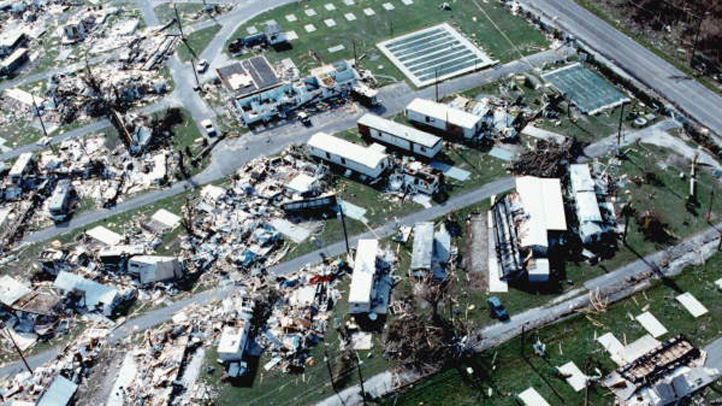 The 1992 photo shows the devastation brought on by Hurricane Andrew on mobile homes and other dwellings.