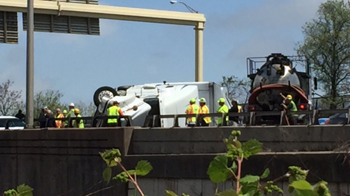 A tractor trailer rollover closed I-91 south in Hartford Tuesday morning.