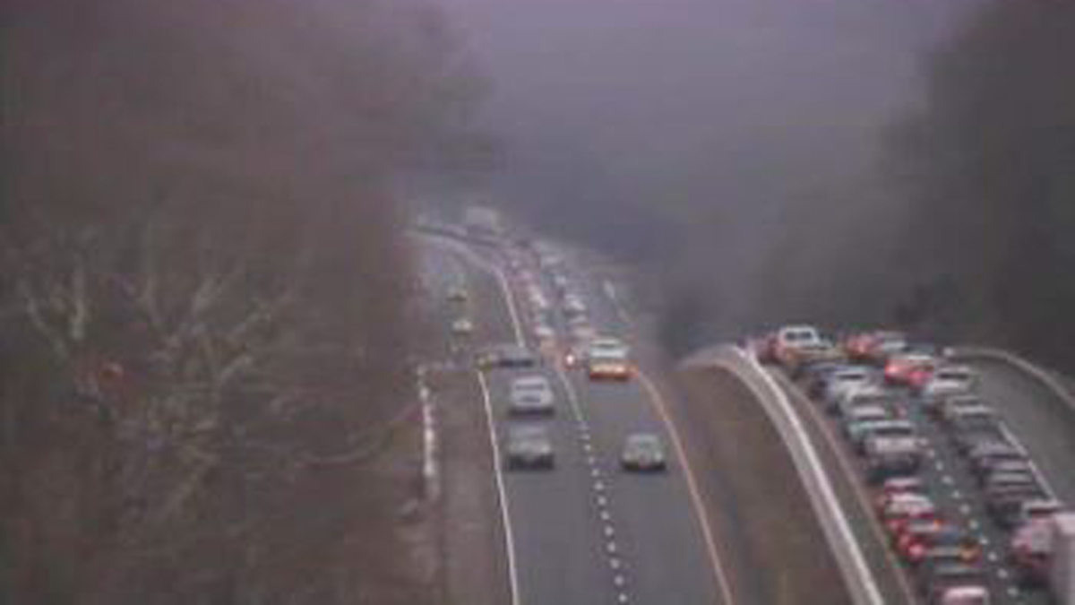 Traffic backed up on I-95 north near exit 70 in Old Lyme.