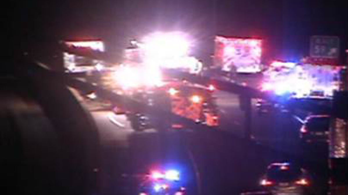 I-95 north in Guilford was shut down between exits 59 and 61 Monday morning after a one-car crash with injuries.