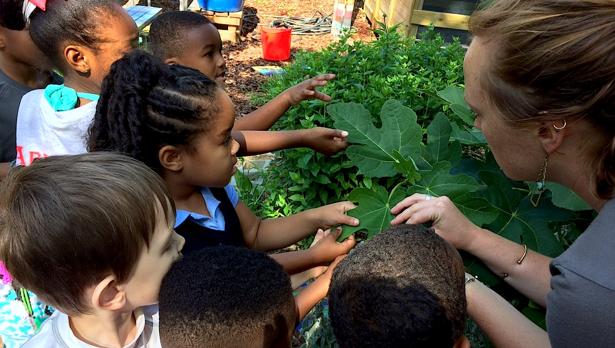 Students work in an outdoor garden classroom with the City Blossoms program, one of many nonprofits working to get gardens up and running in schools and elsewhere.