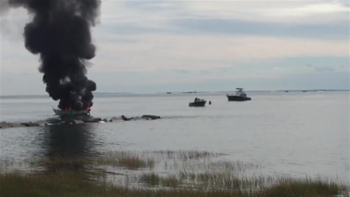 An 86-year-old man suffered serious burns in a boat fire in Milford on Friday.