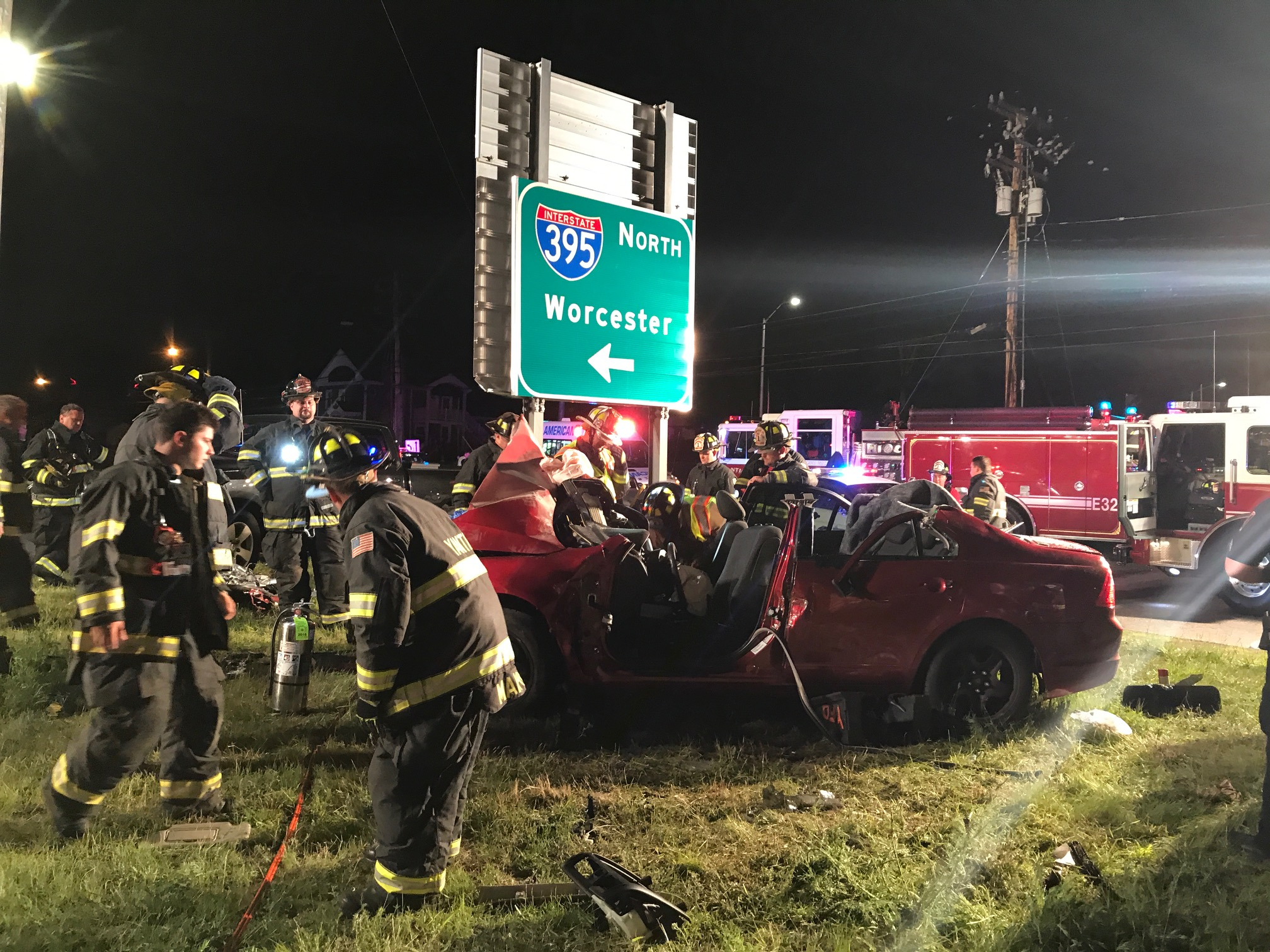 Three people were hurt in a crash in the Yantic section of Norwich Sunday night.