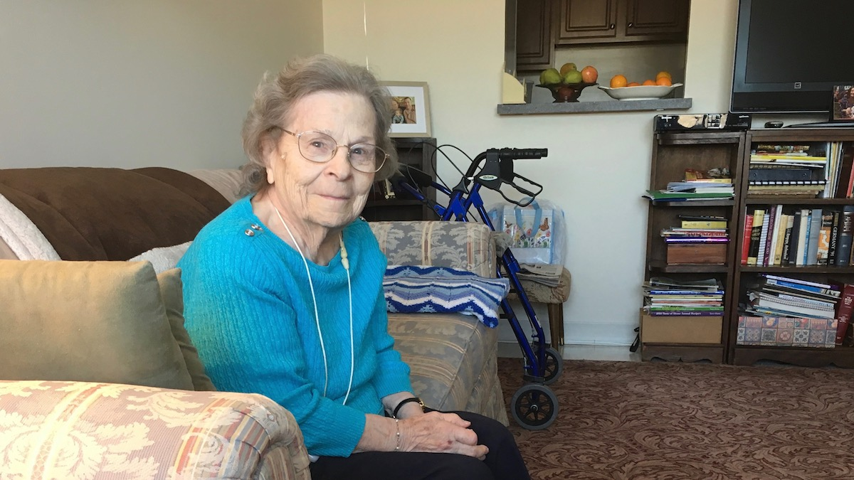Dale Lamphier, 97, says some days it's difficult for her to walk even down the block to the supermarket. She says she depends on her daily delivery from Meals on Wheels.