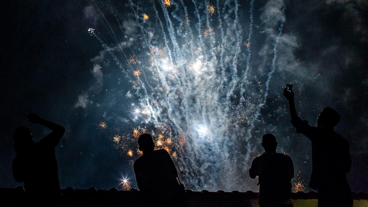Fireworks illuminate the city's skyline during a 2017 New Year's Eve celebrations Jan. 1, 2017 in Yogyakarta, Indonesia.