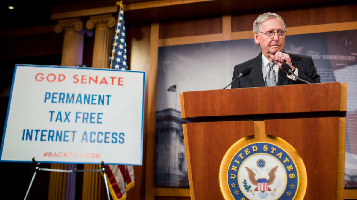 Senate Majority Leader Mitch McConnell, R-Ky., speaks during the Senate Republicans' news conference on the