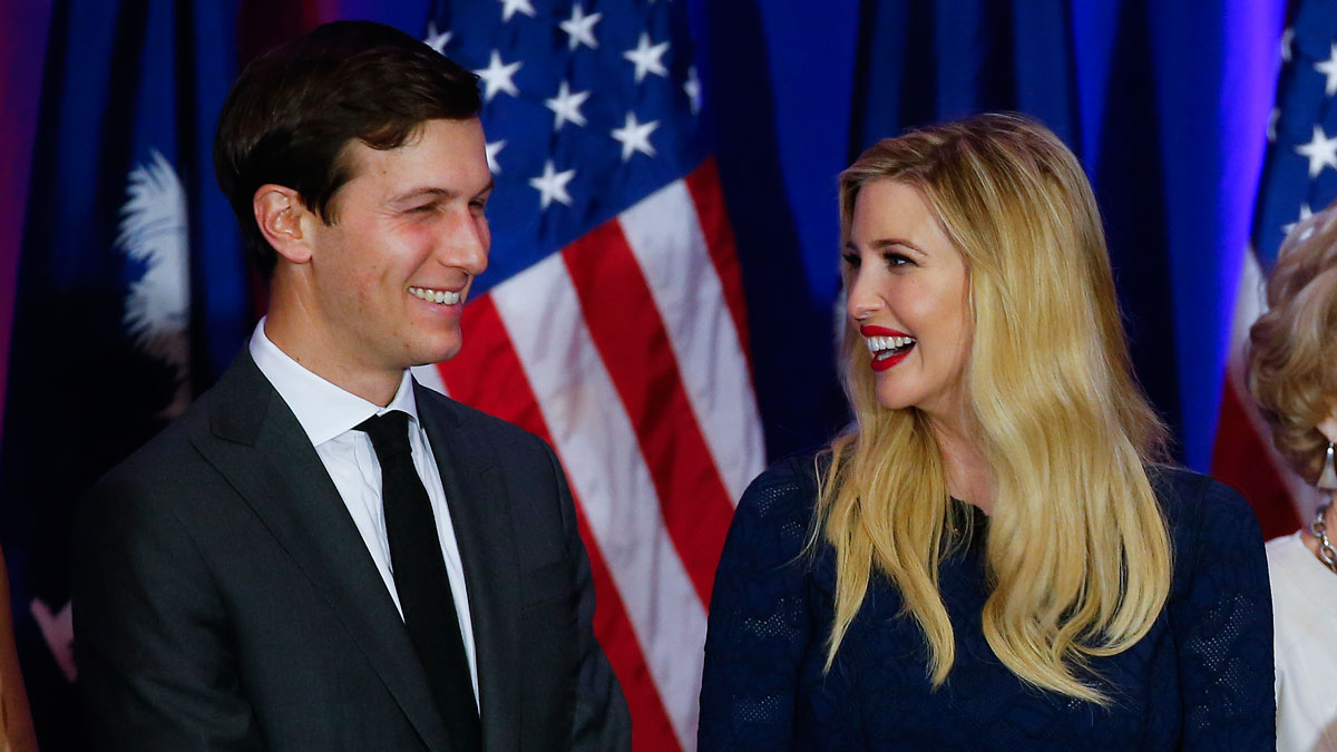 In this file photo Jared Kushner and his wife, Ivanka Trump, smile at a Republican presidential candidate Donald Trump rally at a South Carolina Republican primary night event, Saturday, Feb. 20, 2016 in Spartanburg, S.C.