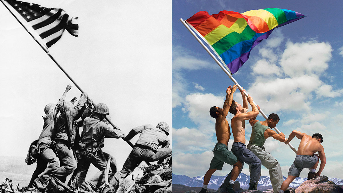 Army soldiers raising the American flag at Iwo Jima, Japan in 1945, left. On the right, Ed Freeman's take on the iconic photo.
