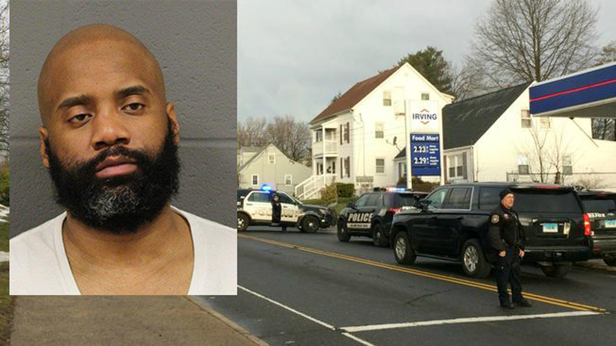 Jermaine Tywane Scott (inset) and the scene of the shooting in New Britain on March 28.