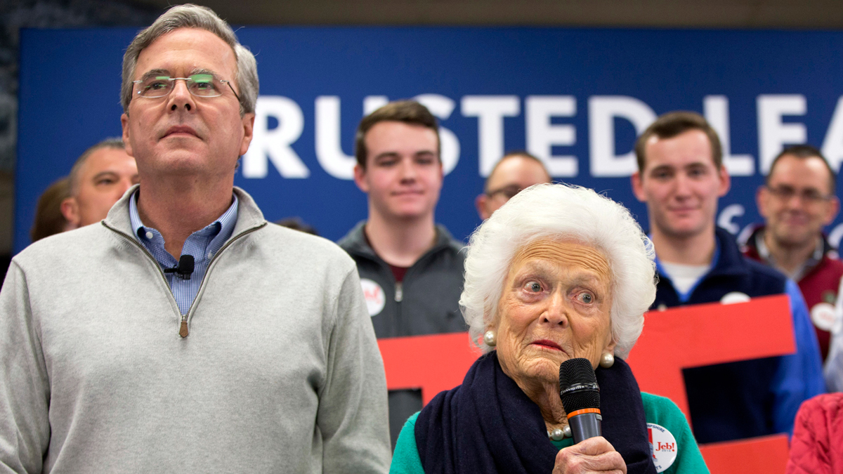 Barbara Bush, right, mother of Republican presidential candidate, former Florida Gov. Jeb Bush, left, introduces her son at a town hall meeting at West Running Brook Middle School in Derry, N.H., Thursday Feb. 4, 2016.