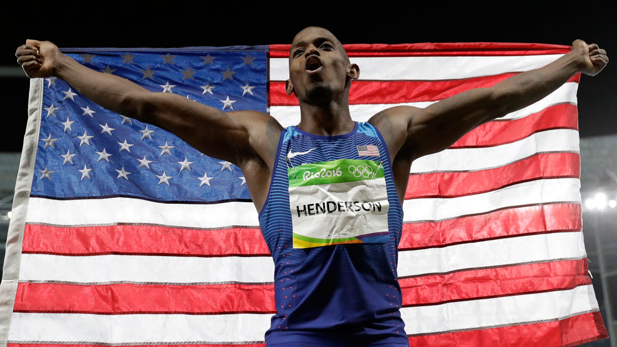 United States' Jeff Henderson celebrates winning the gold medal in the men's long jump during the athletics competitions of the 2016 Summer Olympics at the Olympic stadium in Rio de Janeiro, Brazil, on Aug. 13, 2016.