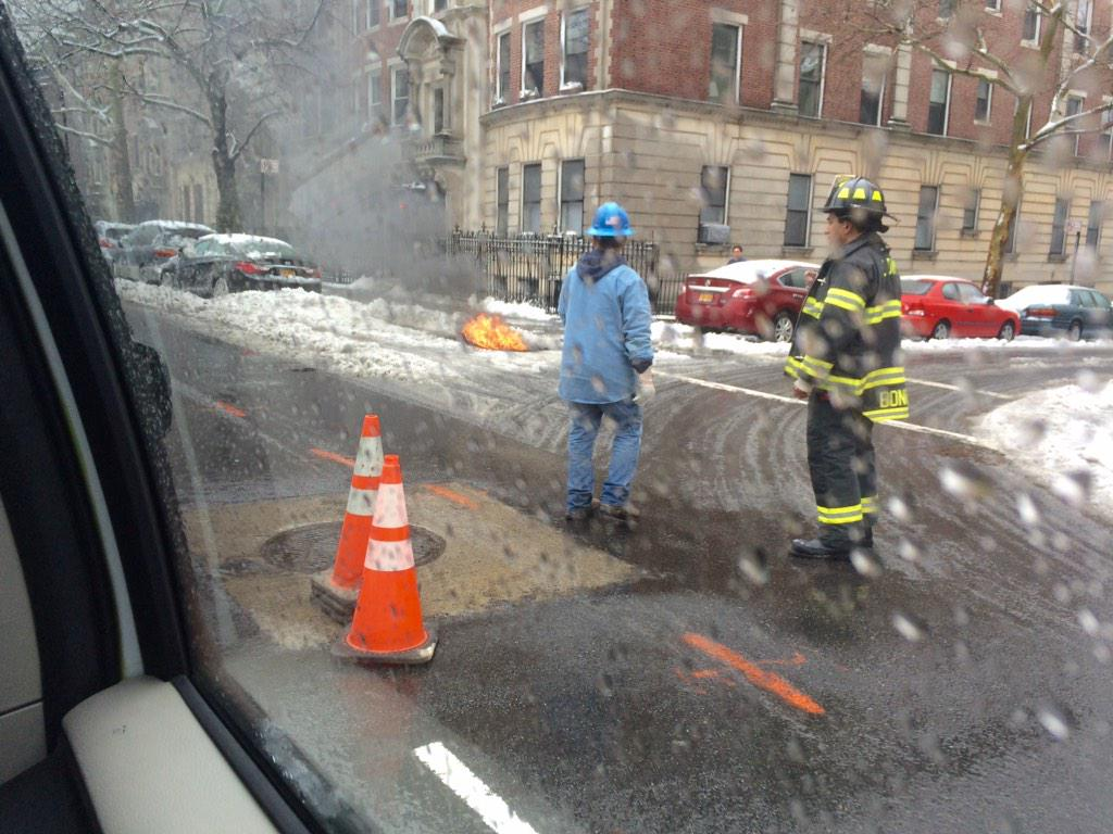 @JennaStern tweeted this photo of the scene of a manhole explosion.