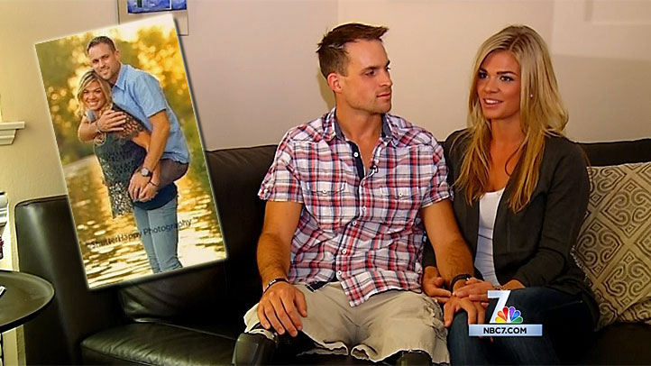 Jesse and Kelly Cottle in their San Diego home discuss the image (inset) that has prompted thousands of comments on Facebook.