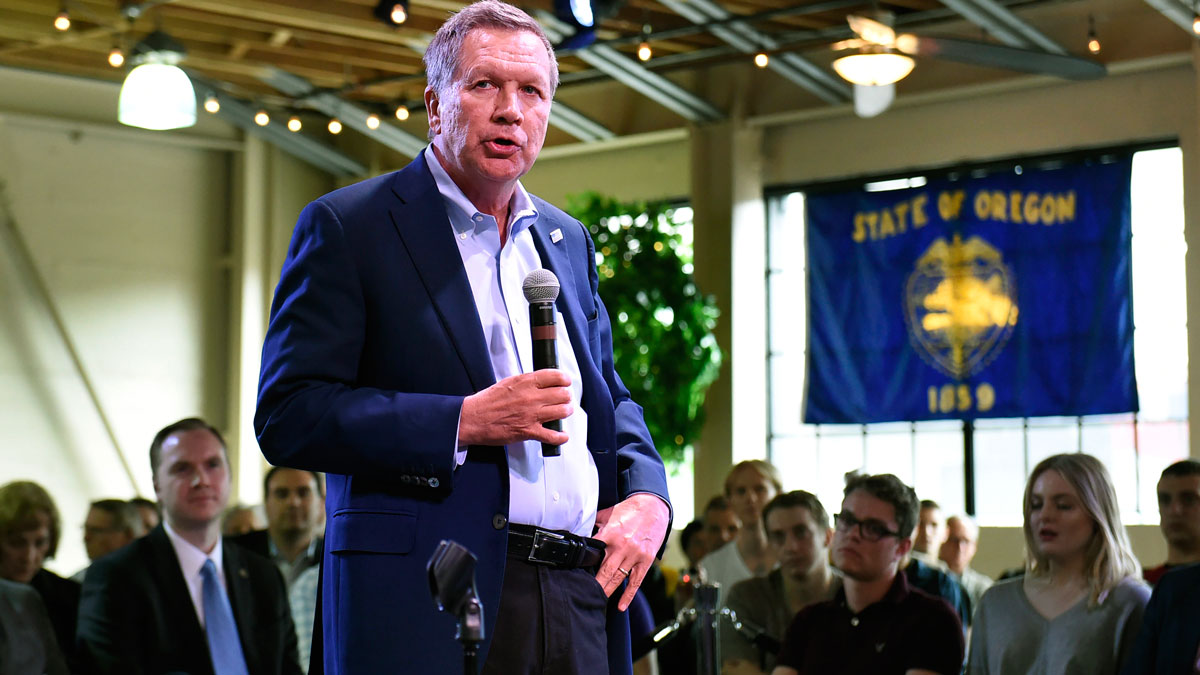 File Image - Republican presidential candidate Ohio Gov. John Kasich was pressed by a man in California to answer whether or not he believed people are born gay.