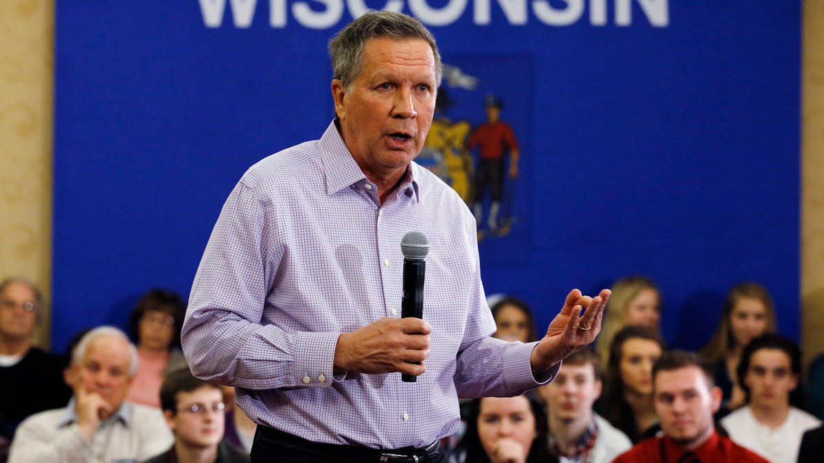Republican presidential candidate Ohio Gov. John Kasich speaks at a campaign event Wednesday, March 23, 2016, in Wauwatosa, Wis.