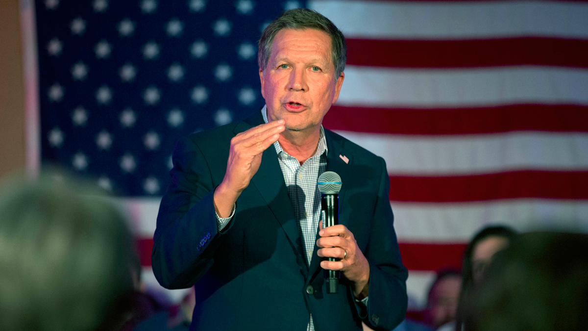 Republican presidential candidate, Ohio Gov. John Kasich speaks during a campaign rally in Wakefield, Mass., Saturday, Feb. 20, 2016.
