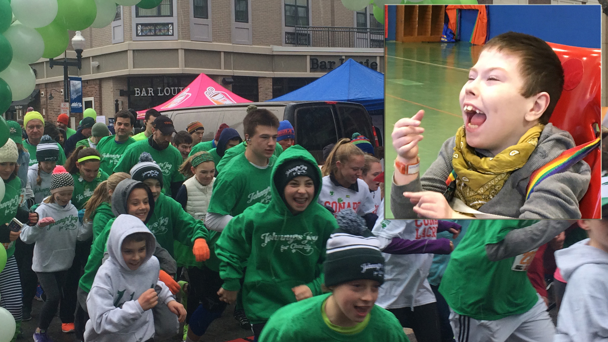 Around 800 runners and walkers laced up for the seventh annual Johnny's Jog for Charity, in honor of Johnny Moran (inset).